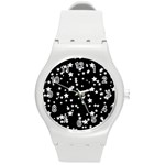 Black And White Starry Pattern Round Plastic Sport Watch (M) Front