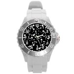 Black And White Starry Pattern Round Plastic Sport Watch (L) Front