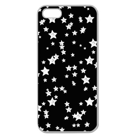 Black And White Starry Pattern Apple Seamless iPhone 5 Case (Clear)