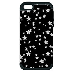 Black And White Starry Pattern Apple Iphone 5 Hardshell Case (pc+silicone)
