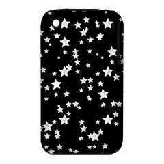 Black And White Starry Pattern Apple Iphone 3g/3gs Hardshell Case (pc+silicone)