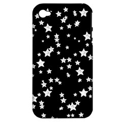 Black And White Starry Pattern Apple iPhone 4/4S Hardshell Case (PC+Silicone)