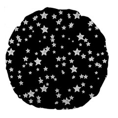 Black And White Starry Pattern Large 18  Premium Round Cushions