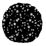 Black And White Starry Pattern Large 18  Premium Round Cushions Back