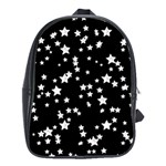 Black And White Starry Pattern School Bags (XL)  Front
