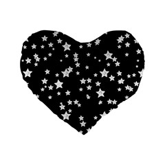 Black And White Starry Pattern Standard 16  Premium Heart Shape Cushions