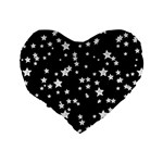 Black And White Starry Pattern Standard 16  Premium Heart Shape Cushions Back