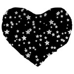 Black And White Starry Pattern Large 19  Premium Heart Shape Cushions Front