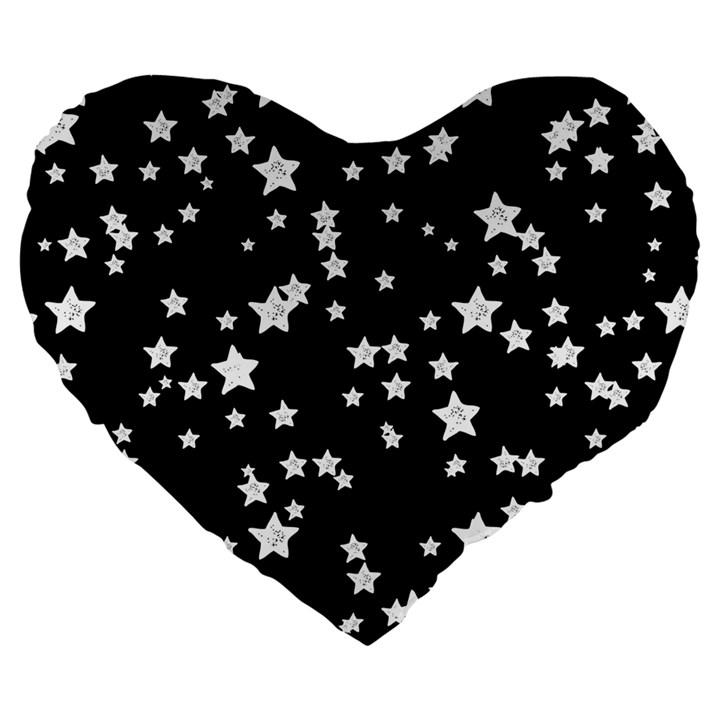 Black And White Starry Pattern Large 19  Premium Heart Shape Cushions