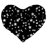Black And White Starry Pattern Large 19  Premium Heart Shape Cushions Back