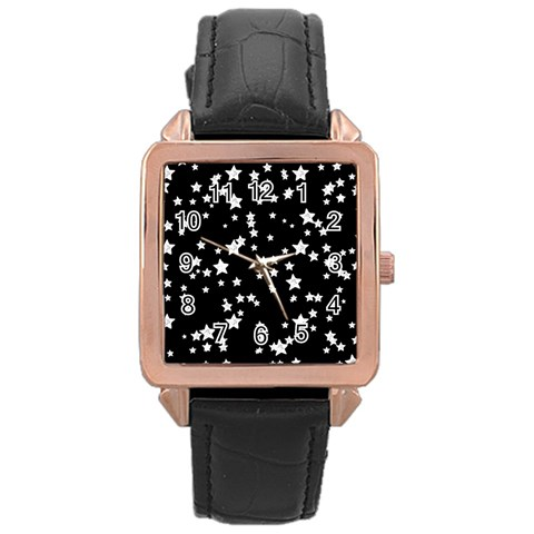 Black And White Starry Pattern Rose Gold Leather Watch