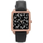 Black And White Starry Pattern Rose Gold Leather Watch  Front