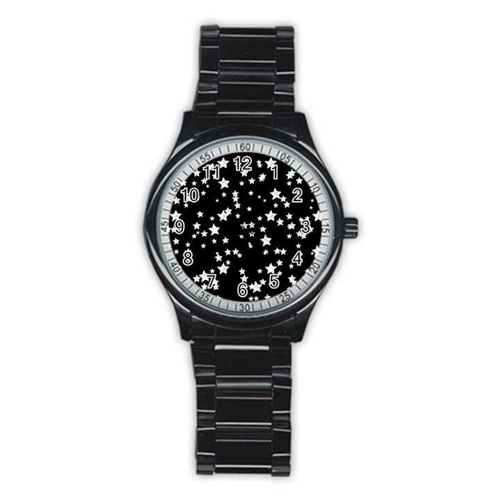 Black And White Starry Pattern Stainless Steel Round Watch