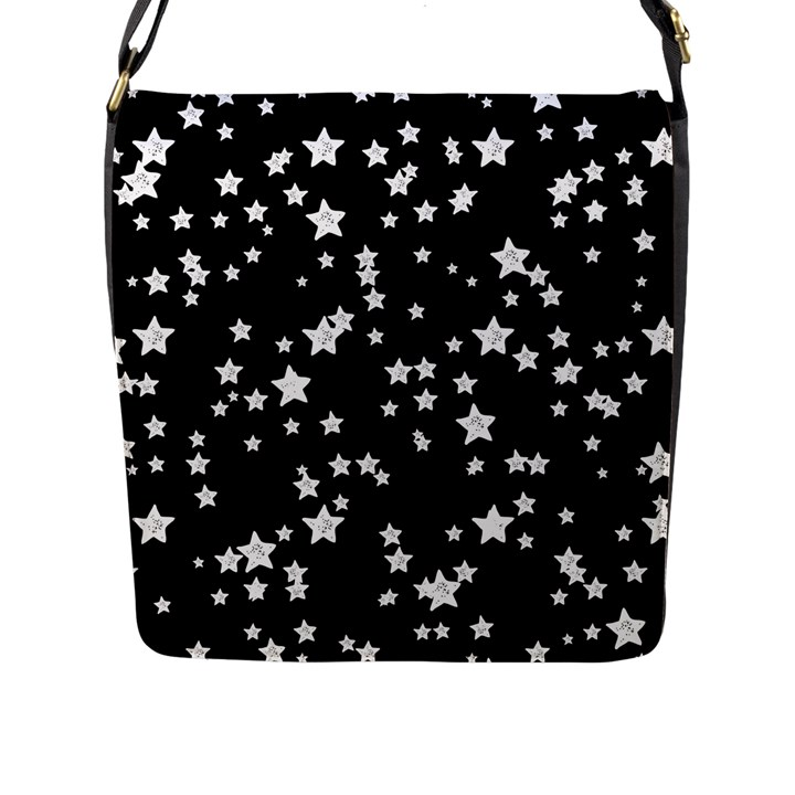 Black And White Starry Pattern Flap Messenger Bag (L)