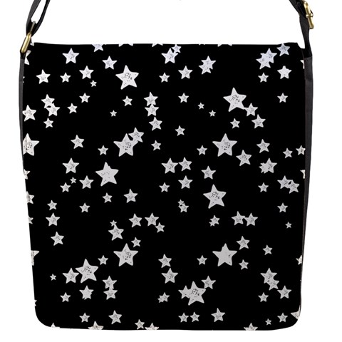 Black And White Starry Pattern Flap Messenger Bag (S)