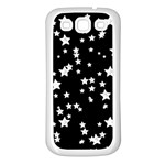 Black And White Starry Pattern Samsung Galaxy S3 Back Case (White) Front