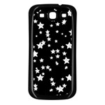 Black And White Starry Pattern Samsung Galaxy S3 Back Case (Black) Front