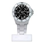 Black And White Starry Pattern Plastic Nurses Watch Front