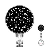 Black And White Starry Pattern Stainless Steel Nurses Watch Front