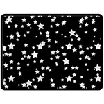 Black And White Starry Pattern Double Sided Fleece Blanket (Large)  80 x60 Blanket Back