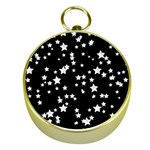 Black And White Starry Pattern Gold Compasses Front