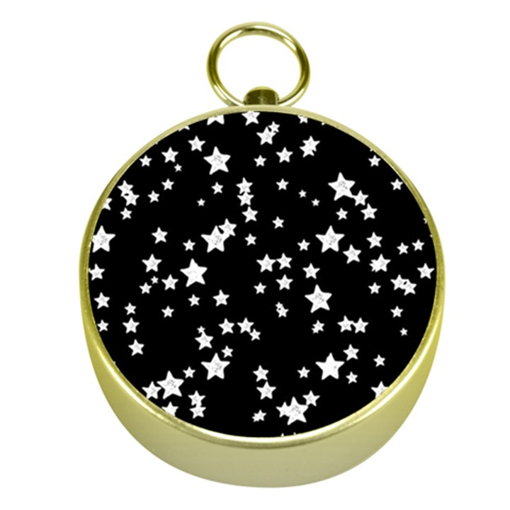 Black And White Starry Pattern Gold Compasses