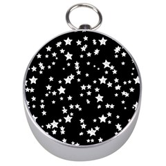 Black And White Starry Pattern Silver Compasses