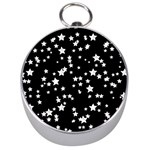 Black And White Starry Pattern Silver Compasses Front