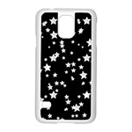 Black And White Starry Pattern Samsung Galaxy S5 Case (White) Front