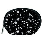 Black And White Starry Pattern Accessory Pouches (Medium)  Front