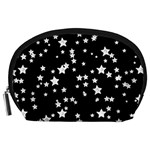 Black And White Starry Pattern Accessory Pouches (Large)  Front