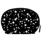 Black And White Starry Pattern Accessory Pouches (Large)  Back