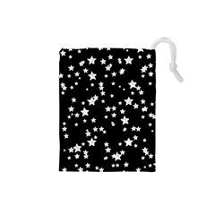 Black And White Starry Pattern Drawstring Pouches (Small)