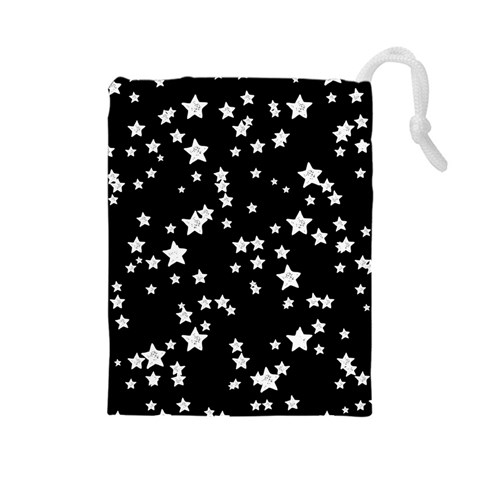Black And White Starry Pattern Drawstring Pouches (Large)