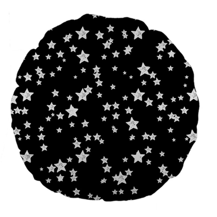 Black And White Starry Pattern Large 18  Premium Flano Round Cushions