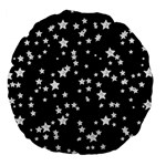 Black And White Starry Pattern Large 18  Premium Flano Round Cushions Back