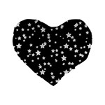 Black And White Starry Pattern Standard 16  Premium Flano Heart Shape Cushions Front