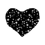 Black And White Starry Pattern Standard 16  Premium Flano Heart Shape Cushions Back
