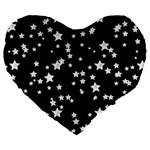 Black And White Starry Pattern Large 19  Premium Flano Heart Shape Cushions Front