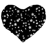 Black And White Starry Pattern Large 19  Premium Flano Heart Shape Cushions Back