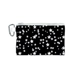 Black And White Starry Pattern Canvas Cosmetic Bag (S) Front