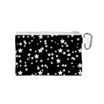 Black And White Starry Pattern Canvas Cosmetic Bag (S) Back