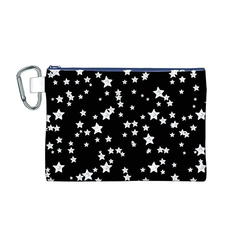 Black And White Starry Pattern Canvas Cosmetic Bag (M)