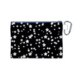 Black And White Starry Pattern Canvas Cosmetic Bag (M) Back