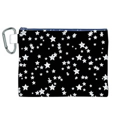 Black And White Starry Pattern Canvas Cosmetic Bag (xl)