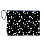 Black And White Starry Pattern Canvas Cosmetic Bag (XL) Front