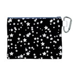 Black And White Starry Pattern Canvas Cosmetic Bag (XL) Back