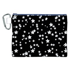 Black And White Starry Pattern Canvas Cosmetic Bag (XXL)