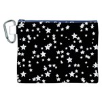 Black And White Starry Pattern Canvas Cosmetic Bag (XXL) Front