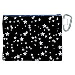 Black And White Starry Pattern Canvas Cosmetic Bag (XXL) Back